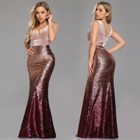 Ever-Pretty V-neck Evening Dress Long Mermaid Sequins Blush Bodycon Gown 07767