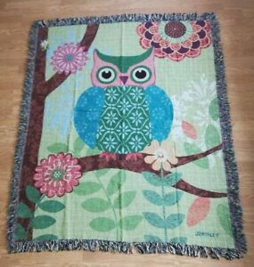 Forest Owls Woven Tapestry Throw ~ Artist Jennifer Brinley ~ 50in by 60in NWT