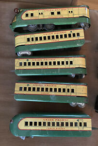 Union Pacific Tin M 10000 Train/Engine, 3 Coach Cars, 1 Buffet Car