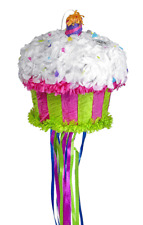 BRIGHT CUPCAKE PULL PINATA perfect for birthday parties and celebrations!