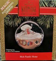 "Hallmark Keepsake Magic Ornament Flickering Lights ""Mole Family Home"" 1991"