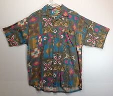 "Hawaiian Aloha Style Shirt M 46"" Pacific Scene - tan gold pink blue tapa print"