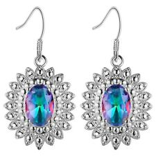 Elegant Style Holiday Gift Rainbow Mystic Topaz Gemstone Silver Dangle Earrings