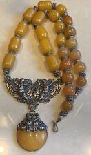 Vintage Berber Moroccan Necklace Cherub Pendant Tribal African Amber Resin