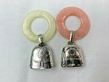 Two  Sterling Silver Baby Birth Record Rattles by Web & Webster