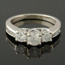 Solid 14K Gold & 1.04 Cttw 3 Stone Diamond Wedding Band, Anniversary Ring