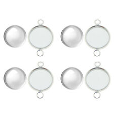 5 Sets Jewelry DIY Accessories Silver 12mm Round Bezel Cup Glass Cabs Connector