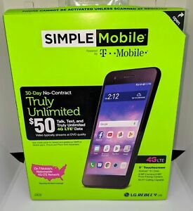 Simple Mobile LG Rebel 4 4G LTE Prepaid Cell Phone, 30 Days $40 Plan Included