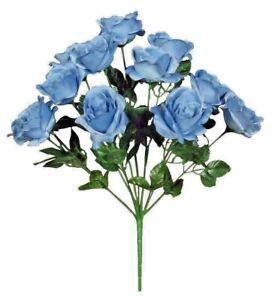 "12-Country Blue Rose 21"" Bush Silk Flower Home Wedding General Decors Craft Art"