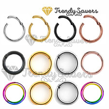 Quality Septum Clicker Tragus Hinged Segment Nose Ear Ring Titanium 1.2mm/1.6mm