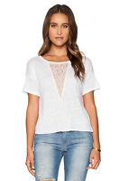 Joe's Jeans Triangle Lace short sleeve white top Size S NWT $98