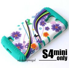 Samsung Galaxy S4 Mini i9190 HARD&SOFT RUBBER HYBRID IMPACT PURPLE FLOWERS GREEN
