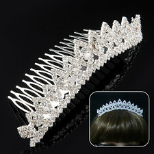 Rhinestone Diamante Bridal Crown Hair Comb Hair Clip Tuck Comb Tiara for Party