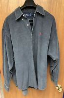 Vintage Mens Ralph Lauren Polo Corduroy Grey-blue Shirt XL 80s Old Logo Rare!