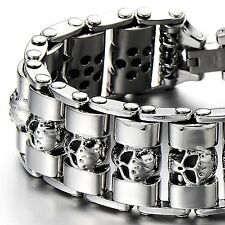 MENDINO Heavy Men's Stainless Steel Bracelet Skull Cuff Polished Biker Silver