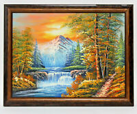 Waterfall Landscape 12 x 16 Art Oil Painting on Canvas w/Custom Wooden Frame