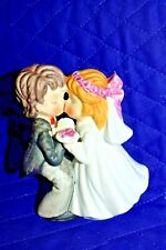 "Estate: Kissing Bride and Groom Cake Topper, Figurine, Ceramic 4-1/2"" Tall Look"