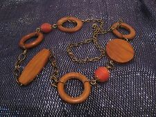 Wonderful ethnic style bronze tone metal chain with wooden bead links 90cm long