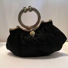 Vintage 30's 40's Black Round Handle Gold Evening Bag