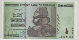 Zimbabwe Banknote 50 TRILLION DOLLARS, P-90, 2008, UNC Condition, AA Serial