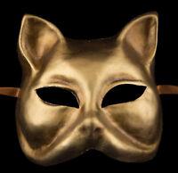 Maschera Di Venezia Viso Gatto Gatto Carta Cartapesta Dorata 32 X26