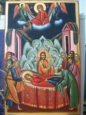 HAND PAINTED  GREEK ICON DORMITION OF THEOTOKOS