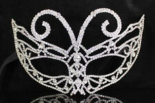 MASQUERADE MASK CLEAR AUSTRIAN RHINESTONE CRYSTAL BRIDAL COSTUME PARTY B1576S
