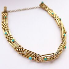Fine Antique Edwardian 15ct Gold Bracelet set with Turquoise & Pearls C.1905