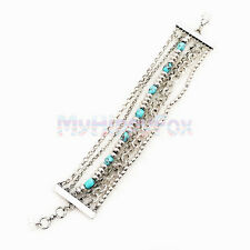 Lucky Brand Multi Layers Silver Tone Turquoise Bead and Chain Bracelet