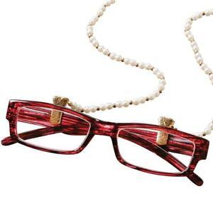 Gold Tone Faux Pearl Eyeglass Chain Holder Lanyard Dressy Fashionable Elegant