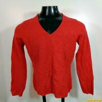 SUTTON STUDIO Bloomindale's Cashmere V-neck Sweater Womens Size L Terra Orange
