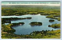 Vintage Linen Postcard Brantingham Lake Airplane Adirondack Mountains NY Aerial
