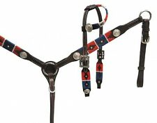 Showman PONY Leather Bridle & Breast Collar Set W/ RED, WHITE & BLUE Embroidery!