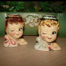 Vintage Girl LIPSTICK HOLDER - Lipper & Man Figurines Candle Holders