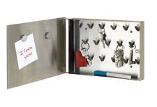 WENKO Schlüsselschrank Schlüsselkasten 17 Haken Edelstahl mit Memoboard Magnete