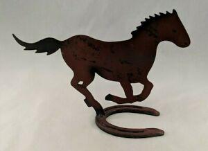 Horse on Horse Shoe Silhouette Figure O Pony Diamond Western Metal Cutout