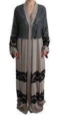 Dolce & Gabbana Dress Cape Gray Floral Applique Lace Kaftan It42 / Us8