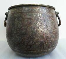 19th Antique Persian Islamic Brass copper Mamluk Arabic inscriptions pot Rare