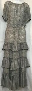 isabel marant Dress Black And Nude Print Tiered Ruffle Short Sleeve Silk Size 38