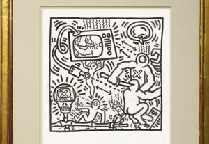 Keith Haring Ink Drawing Dynamic New York Gay American Abstract love Violence