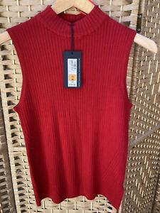 Marks And Spencers Ribbed Red Sleeveless Top Bnwt Size 10