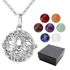 JSDDE 7 Chakra 8mm Gemstone Healing Crystal Ball Tree Life Locket Pendant