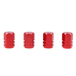 4X Red Auto Car Tyre Rim Valve Wheel Stem Air Port Dust Caps Cover Accessory Set