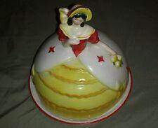 Vintage Pottery Southern Bell Lady Cake Pie Serving Platter Saucer Server