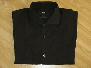 Mens HUGO BOSS Philip 39/15.5 Black Cotton Slim Fit Easy Iron Shirt Long Sleeve
