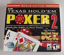 Texas Hold'em 3D Poker 2 PC CD-ROM + Poker Drop & Real Limit Poker 98SE/ME/XP