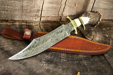 "15"" INCH CUSTOM HAND MADE DAMASCUS STEEL HUNTING BOWIE KNIFE DEER ANTLER HANDLE"