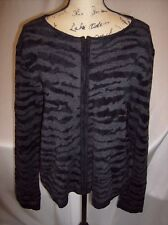 Field Manor Black and Gray Animal Print Full Zip Cardigan Sweater NWT Size XL