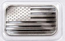 "1 oz Hand Poured 999 Silver Bullion Bar 3D "" AMERICAN FLAG "" Poured Silver"