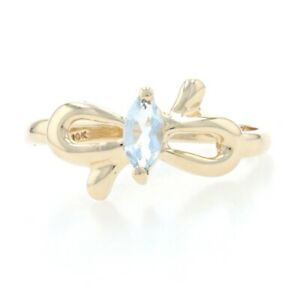Yellow Gold Aquamarine Bow Solitaire Bypass Ring - 10k Marquise Cut .20ct